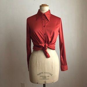 Vintage blouse orange rust buttoned down size:S